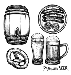 Beer Sketch Decorative Icon Set vector image