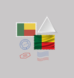 Benin flag postage stamp set isolated on gray vector