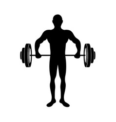 black silhouette muscle man lifting a disc weights vector image