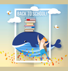 boy and whale with books on blue sky background vector image