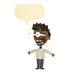 cartoon staring man with speech bubble vector image