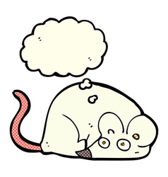 Cartoon white mouse with thought bubble vector
