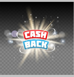 Cash back lettering on transparent vector