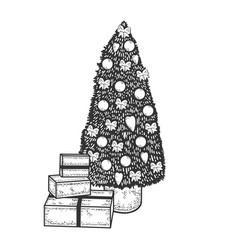 Christmas tree sketch engraving vector