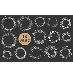 Christmas wreaths set vector image