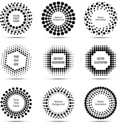 Circle dotted burst halftone banners vector