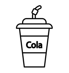 cola plastic glass icon outline line style vector image