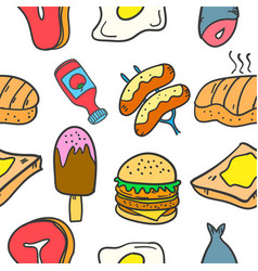 Collection of food and drink style doodles vector