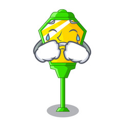 Crying street lamp post in shape cartoon vector