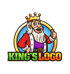 cute king cartoon logo mascot template vector image