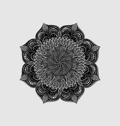 Decorative colored mandala in black and white vector