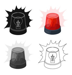 Emergency rotating beacon light icon in cartoon vector