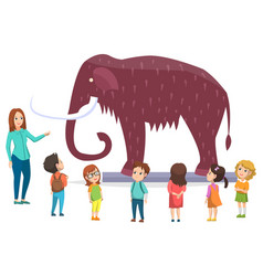 Exhibition in natural history museum with mammoth vector