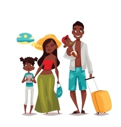 Family with two children and luggage arrived vector