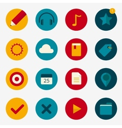 Flat colourful icons with play and pin vector image