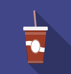 Flat design modern of drink icon with long shadow vector image