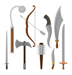flat set of medieval weapon viking battle vector image