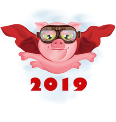 flying super-pig in a red cloak vector image