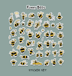 Funny bee sticker set for your design vector