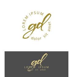 g d initials monogram logo design dry brush vector image