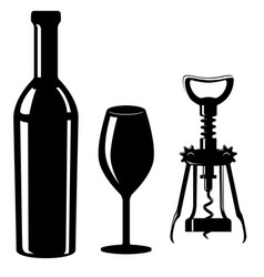 glass and bottle wine with corkscrew black vector image