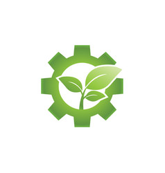 go green leaf and gear industrial logo design vector image