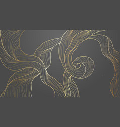 golden abstract waves line art pattern background vector image