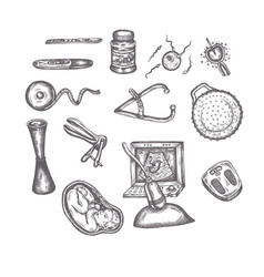 Hand drawn pregnancy elements sketches set vector