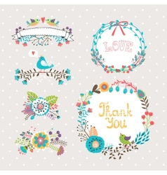 hand drawn wreaths vector image