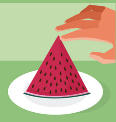 Hand grabbing watermelon vector