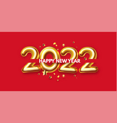 happy new 2022 year elegant gold 3d realistic text vector image