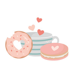 happy valentines day coffee cup cookie and donut vector image