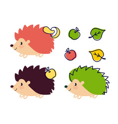 Hedgehog set is cheerful on a white background vector