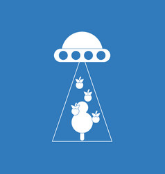 Icon flying saucer and tree vector