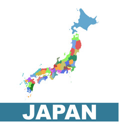japan administrative map flat vector image