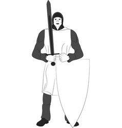 Knight with shield and sword vector