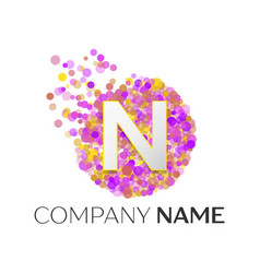 Letter n logo with purle particles and bubble dots vector