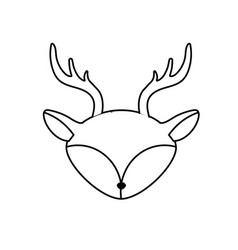 line deer head wild cute animal vector image