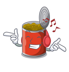 Listening music canned food on the table cartoon vector