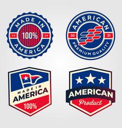 Made in america usa label set retro design vector