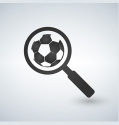 magnifying glass with soccer ball icon football vector image