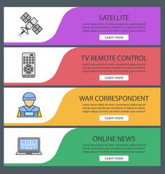 Mass media web banner templates set vector