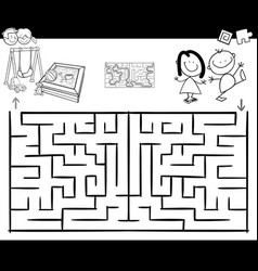 Maze activity game with kids and playground vector