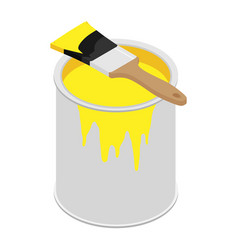 Metal paint can with yellow paint and paintbrush vector