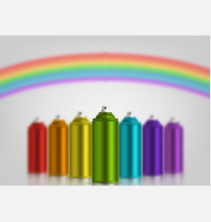 Metallic cans spray paint in various colors vector