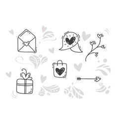 monoline valentines day hand drawn elements vector image
