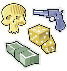 objects for crime and danger vector image