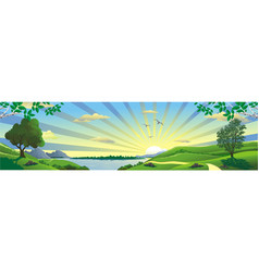 panorama of nature - the rising of the sun on vector image