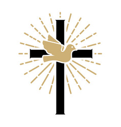 Pigeon with cross religious sign vector