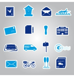 post and mail blue stickers set eps10 vector image